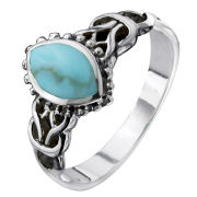 Silver Plated Turquoise Oval Celtic Ring