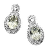 Silver Plated Genuine Green Amethyst Earrings