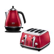 De'Longhi Micalite 4 Slice Toaster and Kettle Bundle - Red