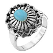 Silver Plated Women's Turquoise Native American Style Ring