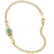 Gold Plated Oval Emerald Bracelet