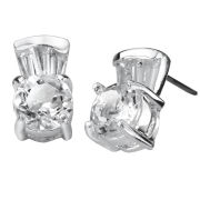 Silver Plated Round White Topaz Earrings