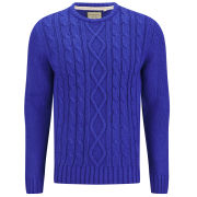 Brave Soul Men's Ludwig Cable Knitted Jumper - Blue