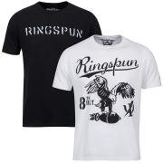 Ringspun Men's Graphic Printed  T-Shirt Two pack White/Black Stalker