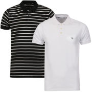 Brave Soul Men's Titanic-2 Pack Polo Shirts - White/Black Stripe & White