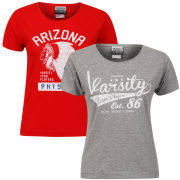 Varsity Team Players Women's 2-Pack  T-Shirt - Grey Swoosh/Red Arizona