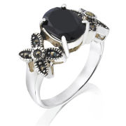 Silver Plated Genuine Oval Onyx Ring