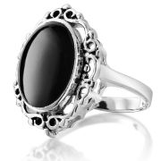 Silver Plated Onyx Ring