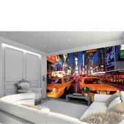 New York Times Square hell beleuchtet mit gelben Taxis, Wandbild, Tapete