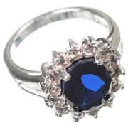 Silver Plated Ring with Blue Sapphire Stone Effect Centre  - in the style of Kate Middleton