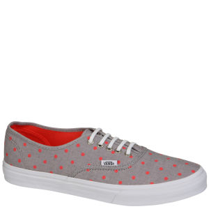 Vans Authentic Slim Chambray Dots Trainers - Grey/Hot Coral