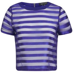 Girls On Film Women's Striped Sheer Overlay Top - Blue