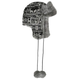 Women's Snowflake Pattern Trapper - Grey/Black