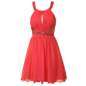 Little Mistress Women's Lace Insert Embellished Prom Dress - Coral