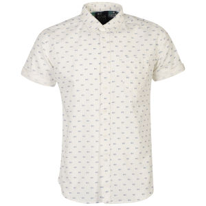 Crosshatch: Mens Mikey All Over Printed Short Sleeve Shirt - Off White