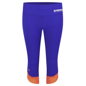 Under Armour Donna Pinocchietto Fly-By Compression, Iride Siberiano