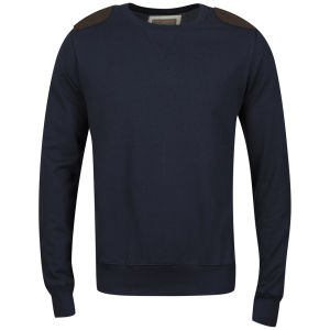 Brave Soul Men's Udolpho Crew Neck Sweatshirt with Cord Patches - Dark Navy