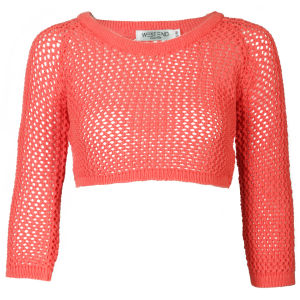 Moku Women's Crop Crochet Open Knit Jumper - Coral
