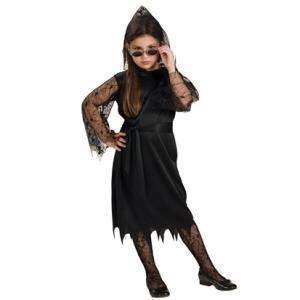 Gothic Lace Vampiress Girls Fancy Dress Costume