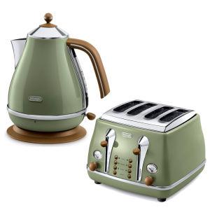 De'Longhi Icona Vintage 4 Slice Toaster and Kettle Bundle - Olive Green