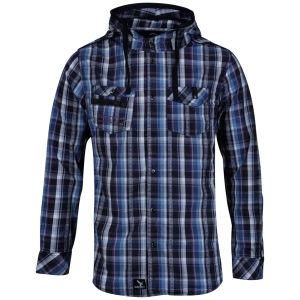 Benzini Men's Abbey Hooded Shirt Blue