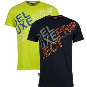 Henleys Men's Helios Twin Pack T-Shirts - Lime Fizz Multi & Navy Multi