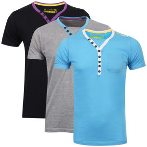 Brave Soul Men's 3-Pack Chiverton V-Neck T-Shirt - Black/Grey/Blue