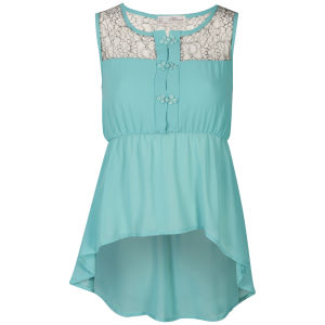 Nova Women's Lace Peplum Blouse - Mint Blue