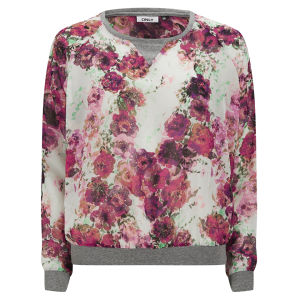 ONLY Women's Selma Floral Sweat Top - White Swan