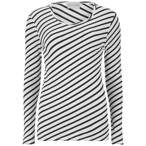 American Vintage Women's Kira Valley Round Neck T-Shirt - White Striped Black
