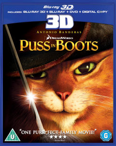 Puss in Boots 3D (3D Blu-ray, 2D Blu-Ray, DVD en Digital Copy)