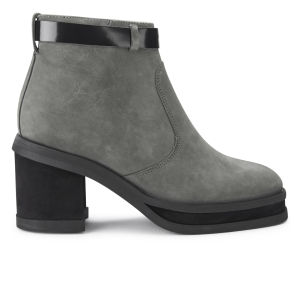 Purified Women's Patricia 1 Chunky Heeled Leather Ankle Boots - Grey