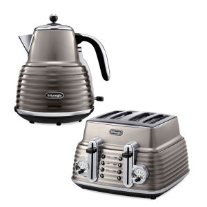 De'Longhi Scultura 4 Slice Toaster and Kettle Bundle - Champagne Gloss