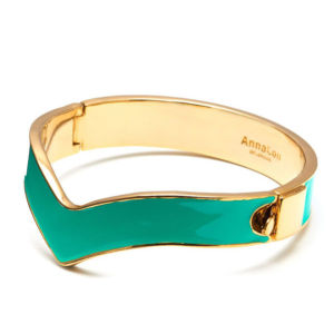Anna Lou of London Chevron Enamel and 14 KT Gold Plated Bangles - Turquoise