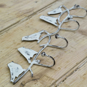 Nkuku Bird Hook - Distressed White