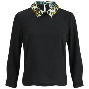 Vero Moda Women's Medine Contrast Collar Top - Black