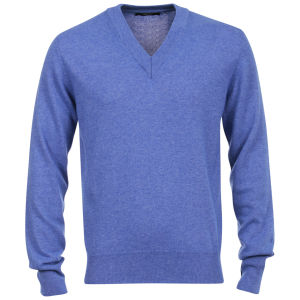 Romeo Gigli Men's Italian V-Neck Cashmere Jumper - Blue
