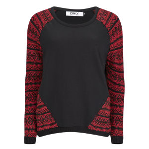 Only Women's Annabell Contrast Jumper - Cherry