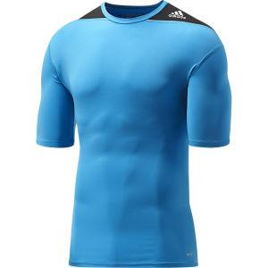 adidas Men's Tech Fit Short Sleeve Base Layer - Solar Blue