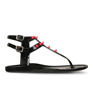 Love Sole Women's Fluorescent Studded Flip Flops - Black/Pink