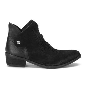 H Shoes by Hudson Women's Peak Suede Heeled Ankle Boots - Black