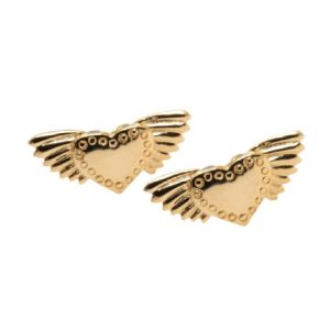 Joy Everley Winged Heart Studs - Gold Plated