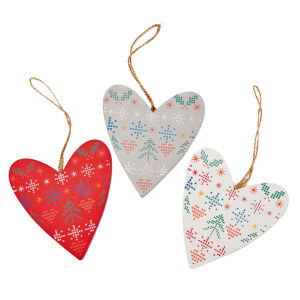 Gisela Graham Folk Wood Heart Decoration Medium (12cm)