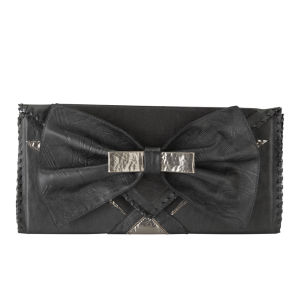 Nook & Willow Leather Bow Clutch - Black/Metallic