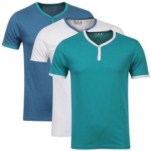 55 Soul Men's 3 Pack Blade T-Shirts - Green/White/Blue