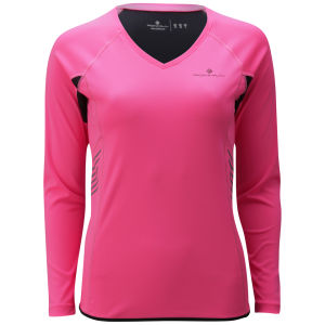 RonHill Women's Vizion Long Sleeve T-Shirt - Fluorescent Pink/Black