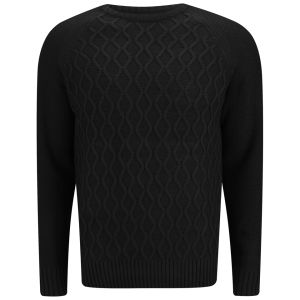 Soul Star Men's Athens Cable Knit Jumper - Black