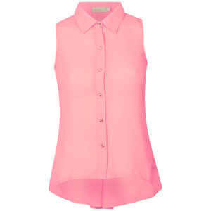 Nova Women's Sleeveless Chiffon Blouse With Button Back Detail - Neon Pink