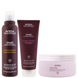 Aveda Invati Shampoo og Conditioner 200ml med Stress Fix Body Cream