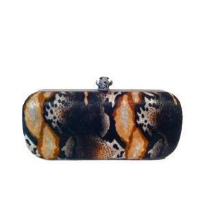House of Harlow Wynn Snake Print Hard Case Clutch - Animal Multi Print/Matte Black